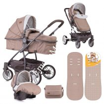 ДЕТСКА КОЛИЧКА LORELLI S-500 SET BEIGE&YELLOW HAPPY FAMILY + СТОЛЧЕ ЗА КОЛА - Код L11045