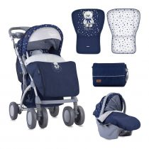 ДЕТСКА КОЛИЧКА LORELLI TOLEDO SET DARK BLUE TEDDY BEAR + СТОЛЧЕ ЗА КОЛА - Код L11071