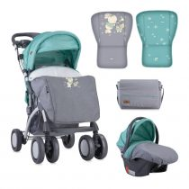 ДЕТСКА КОЛИЧКА LORELLI TOLEDO SET GREY&GREEN BUNNIES + СТОЛЧЕ ЗА КОЛА - Код L11072