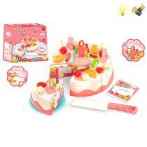 Комплект торта за рязане със светеща свещичка - Код W1684
