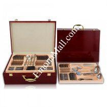 Комплект прибори за хранене и сервиране ZEPHYR ZP 1510 AG SW84 84 части, дървена кутия, неръждаема стомана - Код G8126